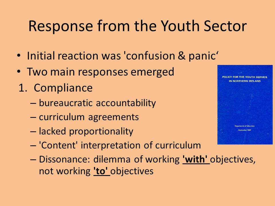 Response from the Youth Sector Initial reaction was 'confusion & panic' Two main responses emerged 1.Compliance – bureaucratic accountability – curric