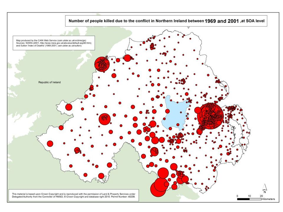 The Northern Ireland Context The Troubles – the most sustained violent conflict over National Identity in Europe (Acheson 2006:13)Over 3700 deaths (equivalent to 11,500 fatalities in Finland 115,000 in UK, 600,000 in USA (Hargie 2003)) – 1969-1976 are considered the most violent period and accounts for over 1/2 deaths Political Upheaval – Suspension of the regional parliament (Stormount) – Public sector response to street violence and civil unrest
