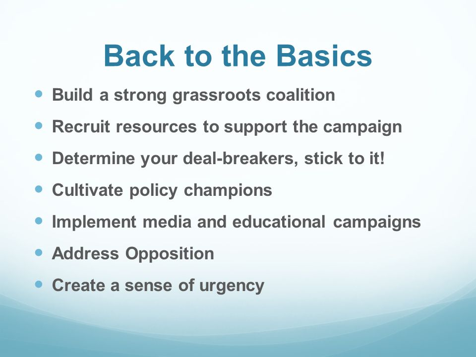 Back to the Basics Build a strong grassroots coalition Recruit resources to support the campaign Determine your deal-breakers, stick to it.
