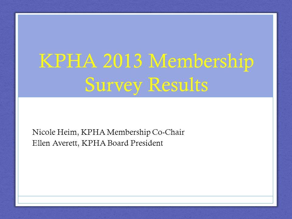 KPHA 2013 Membership Survey Results Nicole Heim, KPHA Membership Co-Chair Ellen Averett, KPHA Board President