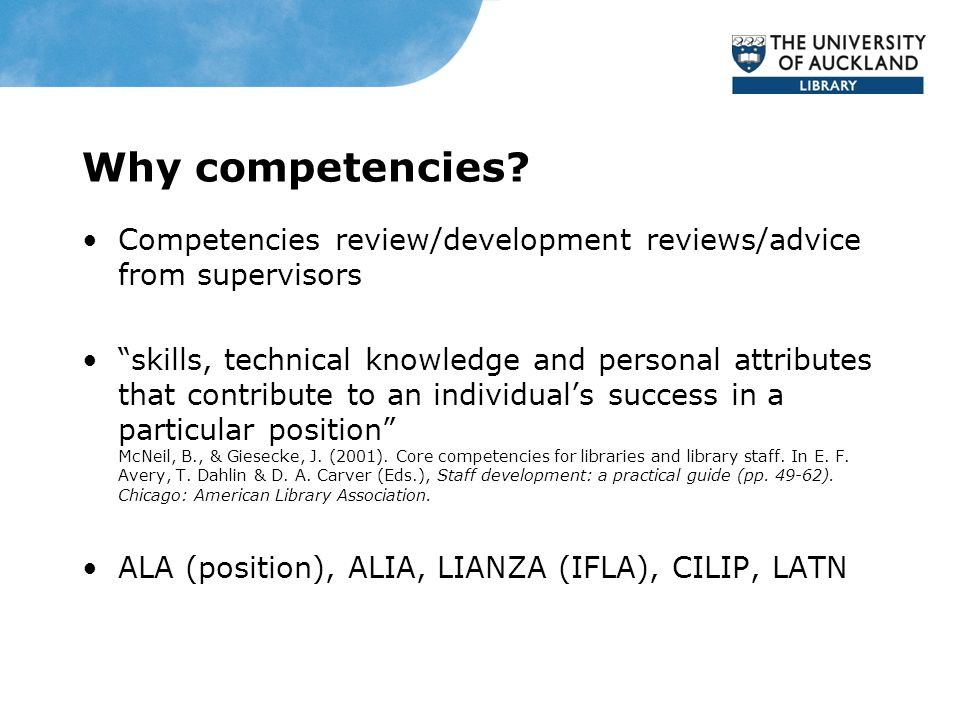 Why competencies.
