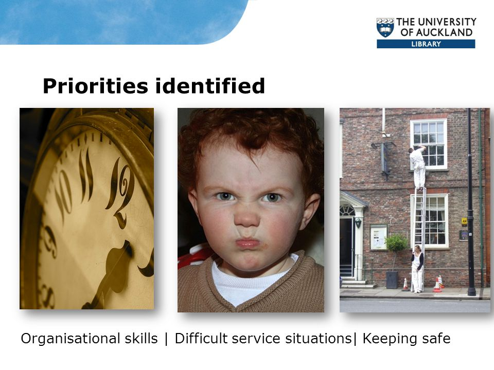 Priorities identified Organisational skills | Difficult service situations| Keeping safe