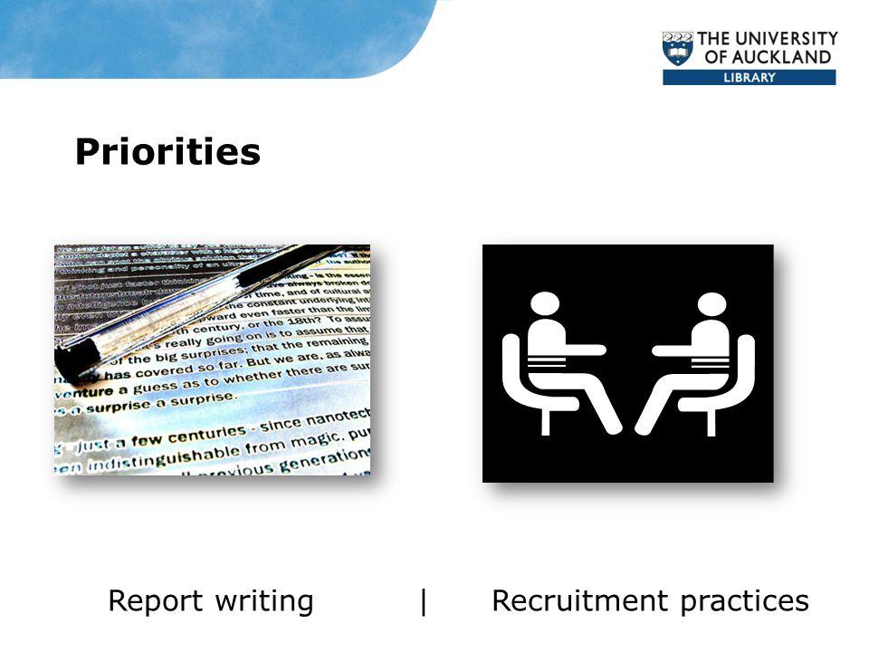 Priorities Report writing | Recruitment practices
