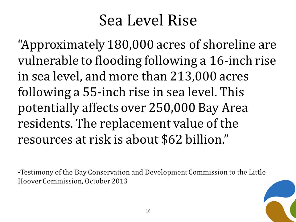 Sea Level Rise Approximately 180,000 acres of shoreline are vulnerable to flooding following a 16-inch rise in sea level, and more than 213,000 acres following a 55-inch rise in sea level.