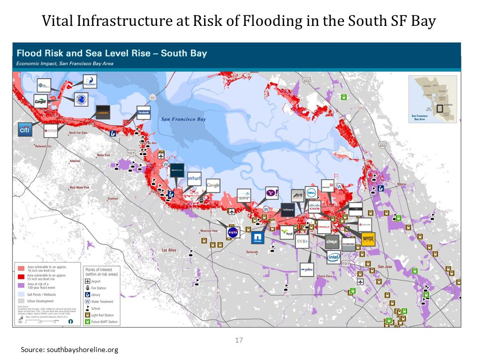 Vital Infrastructure at Risk of Flooding in the South SF Bay Source: southbayshoreline.org 17