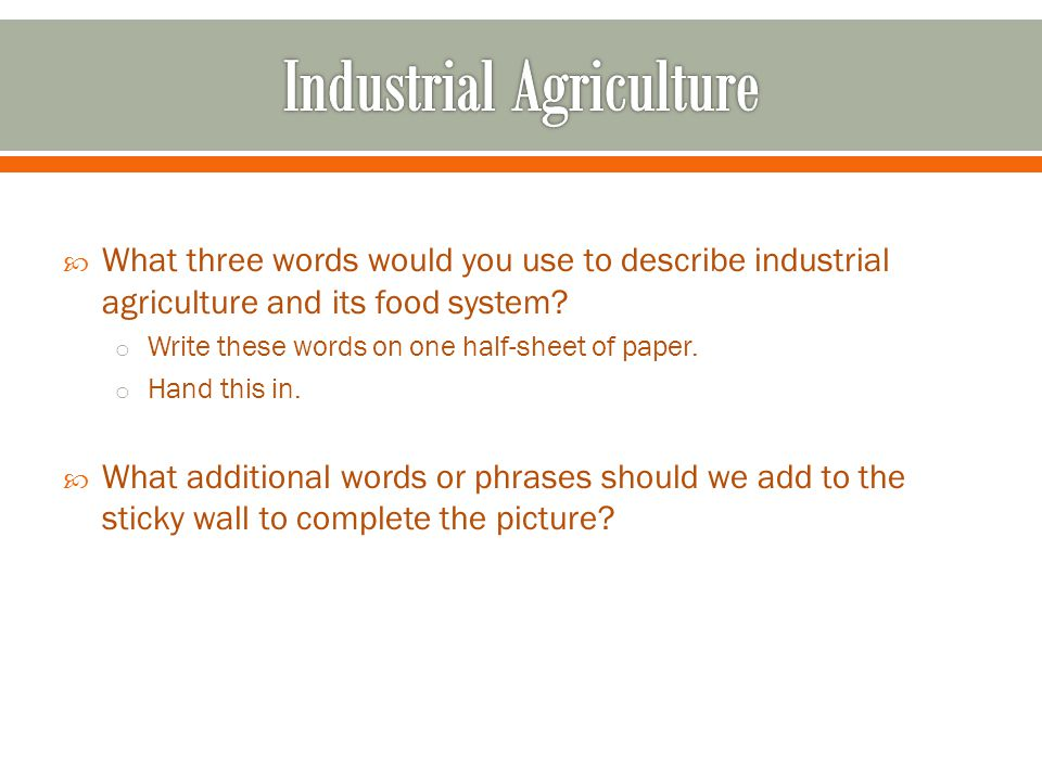  What three words would you use to describe industrial agriculture and its food system.