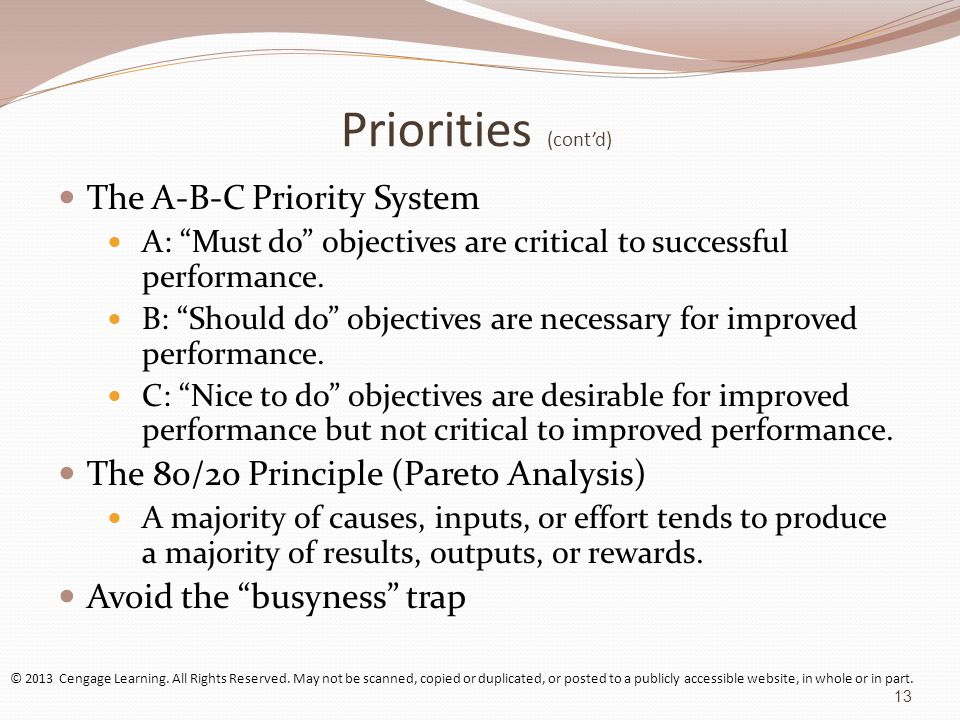 Priorities (cont'd) The A-B-C Priority System A: Must do objectives are critical to successful performance.