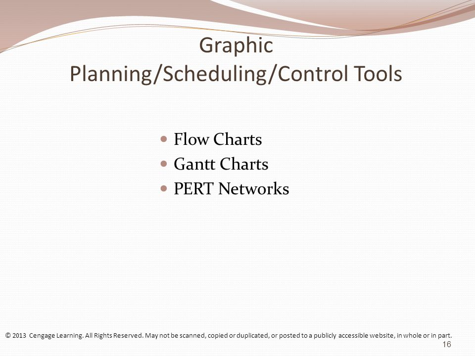 Graphic Planning/Scheduling/Control Tools Flow Charts Gantt Charts PERT Networks © 2013 Cengage Learning.