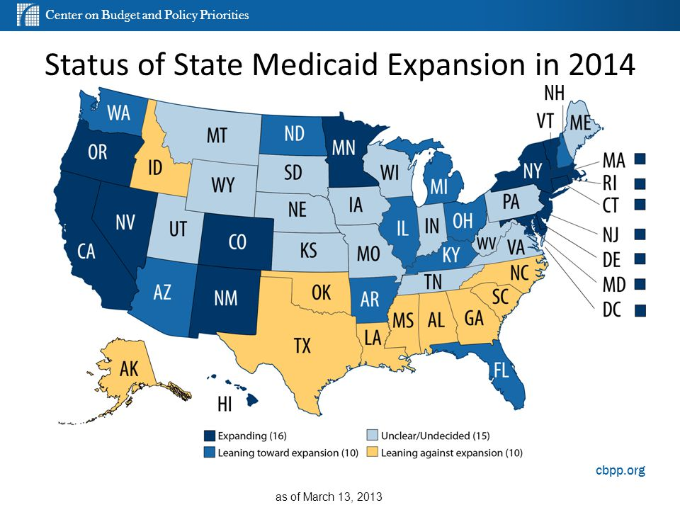 Center on Budget and Policy Priorities cbpp.org Status of State Medicaid Expansion in 2014 as of March 13, 2013