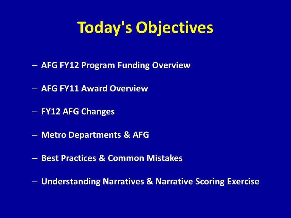 Today's Objectives – AFG FY12 Program Funding Overview – AFG FY11 Award Overview – FY12 AFG Changes – Metro Departments & AFG – Best Practices & Commo