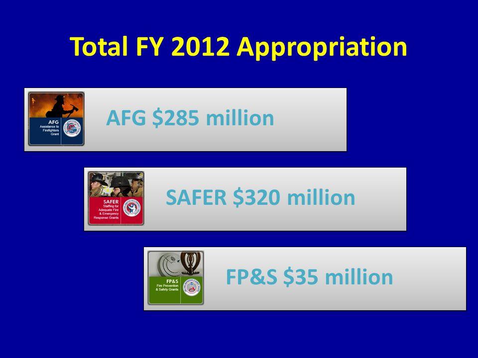 Total FY 2012 Appropriation AFG $285 millionSAFER $320 millionFP&S $35 million