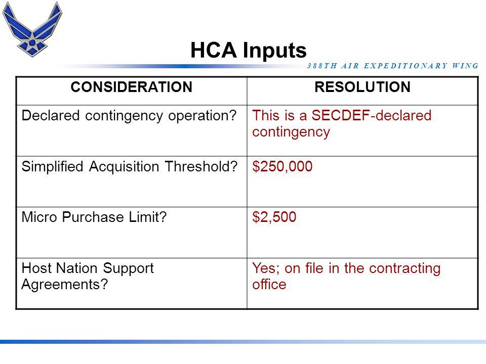 3 8 8 T H A I R E X P E D I T I O N A R Y W I N G HCA Inputs CONSIDERATIONRESOLUTION Declared contingency operation?This is a SECDEF-declared continge