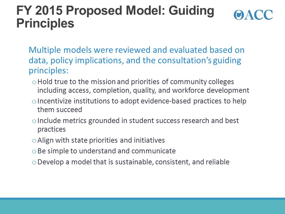 FY 2015 Proposed Model: Guiding Principles Multiple models were reviewed and evaluated based on data, policy implications, and the consultation's guid