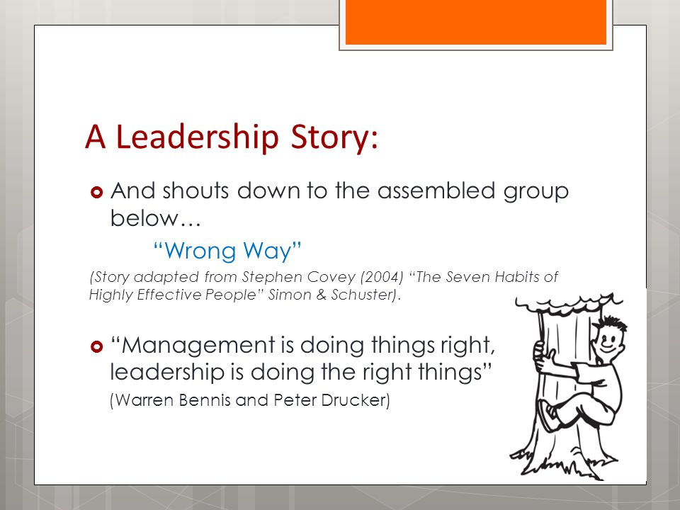 A Leadership Story:  And shouts down to the assembled group below… Wrong Way (Story adapted from Stephen Covey (2004) The Seven Habits of Highly Effective People Simon & Schuster).
