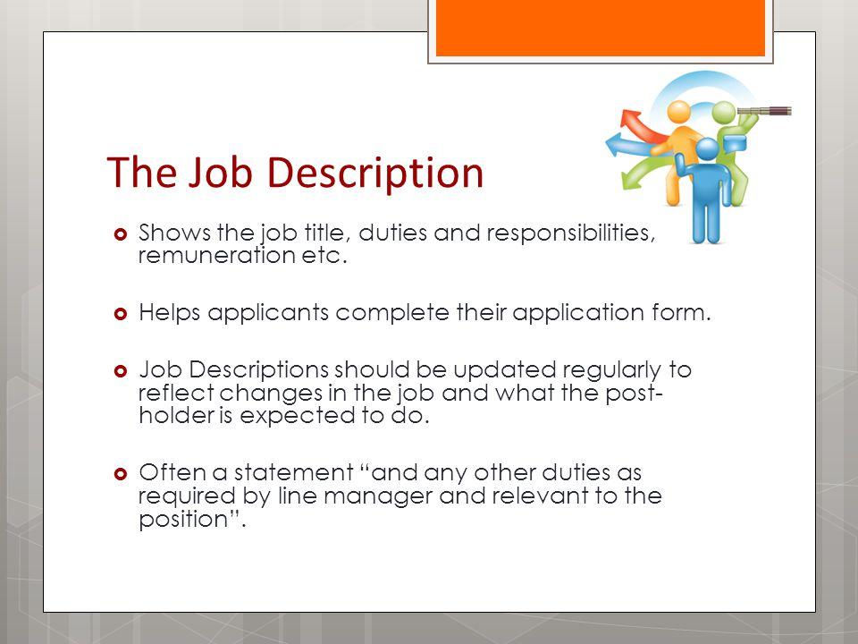 The Job Description  Shows the job title, duties and responsibilities, remuneration etc.