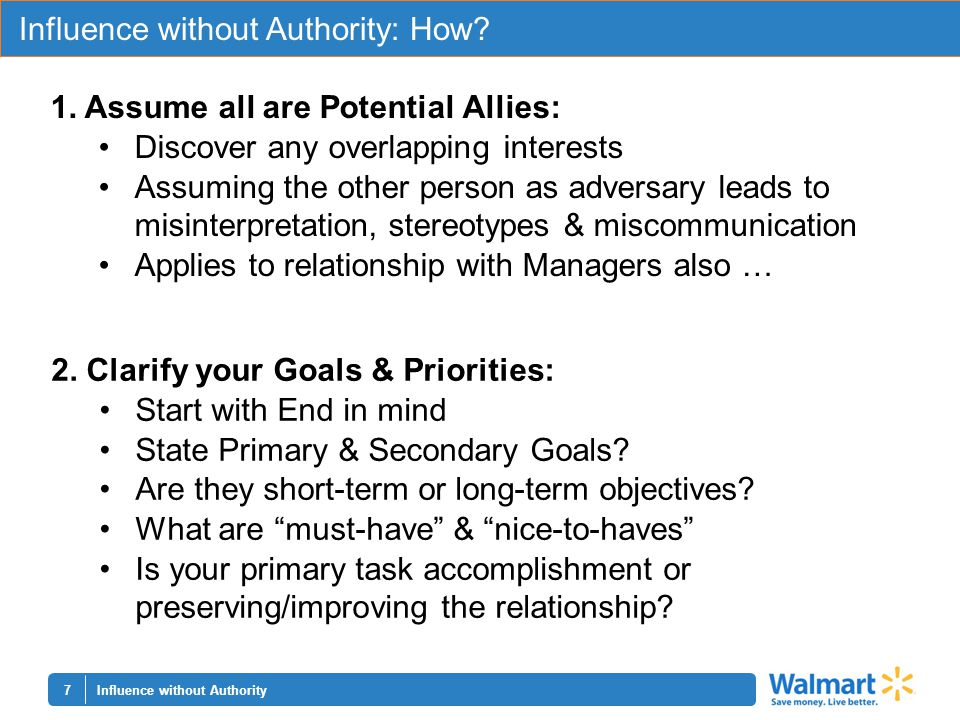 7 Influence without Authority: How. Influence without Authority 1.