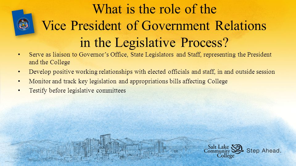 What is the role of the Vice President of Government Relations in the Legislative Process.