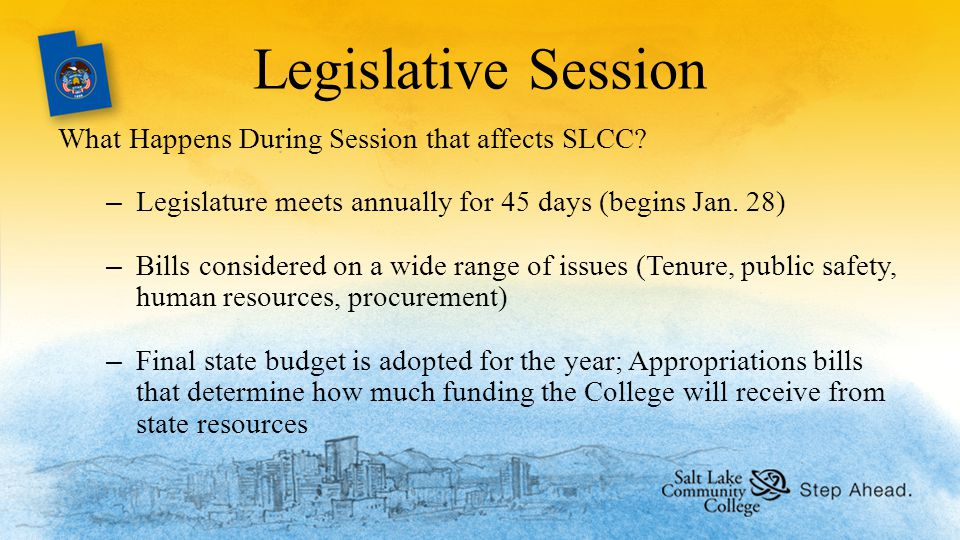 Legislative Session What Happens During Session that affects SLCC.