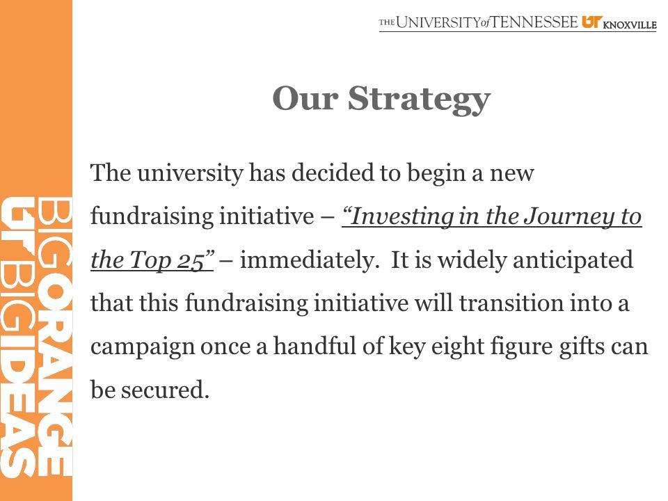 Our Strategy The university has decided to begin a new fundraising initiative – Investing in the Journey to the Top 25 – immediately.
