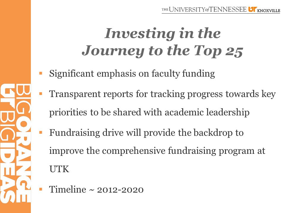 Investing in the Journey to the Top 25  Significant emphasis on faculty funding  Transparent reports for tracking progress towards key priorities to be shared with academic leadership  Fundraising drive will provide the backdrop to improve the comprehensive fundraising program at UTK  Timeline ~ 2012-2020