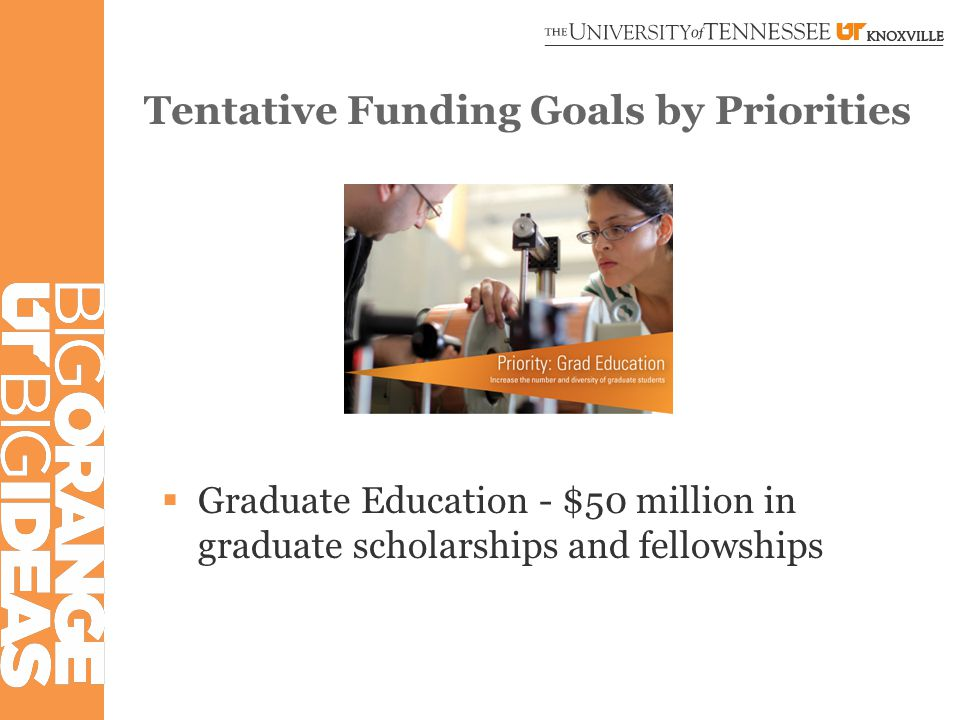 Tentative Funding Goals by Priorities  Graduate Education - $50 million in graduate scholarships and fellowships