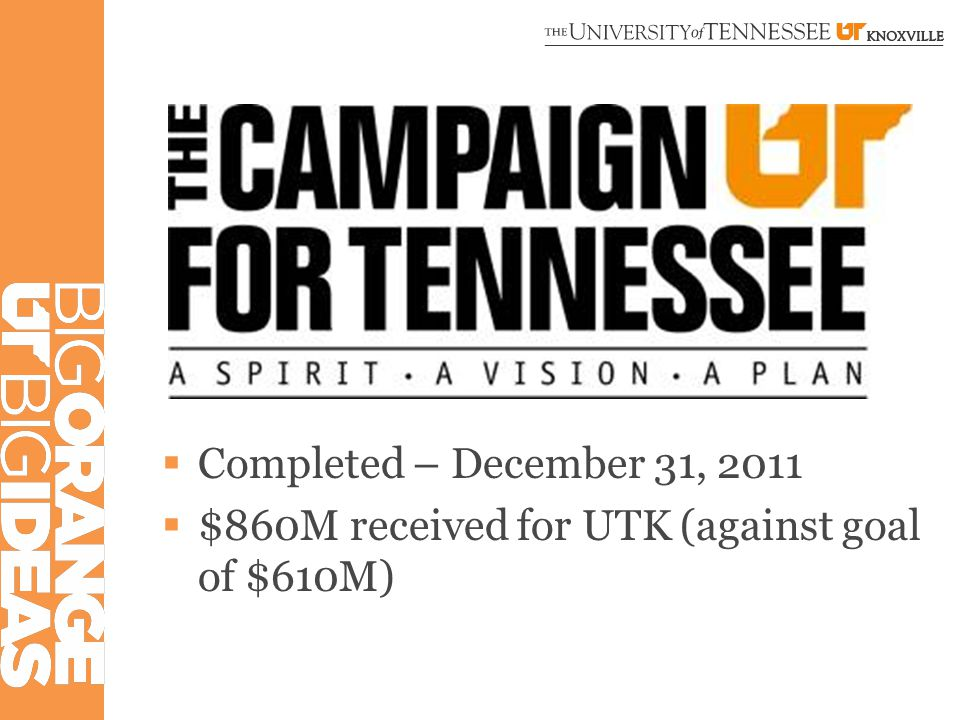  Completed – December 31, 2011  $860M received for UTK (against goal of $610M)