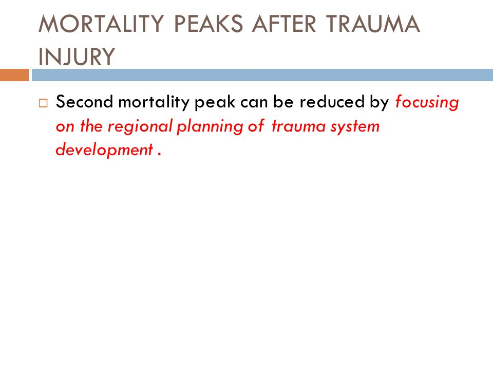 MORTALITY PEAKS AFTER TRAUMA INJURY  Second mortality peak can be reduced by focusing on the regional planning of trauma system development.