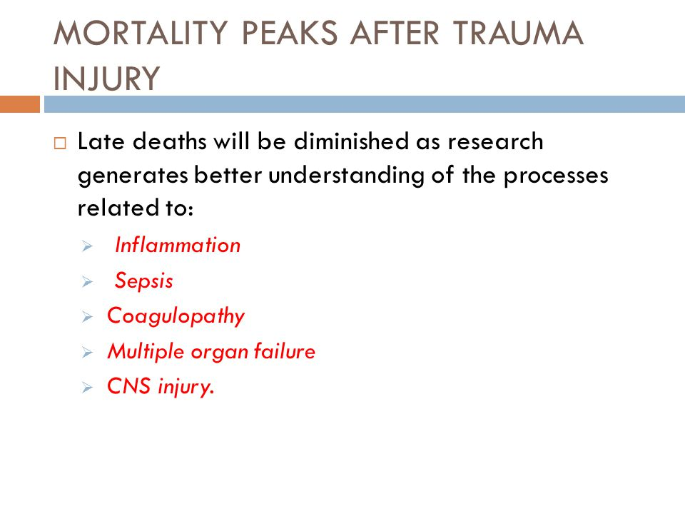 MORTALITY PEAKS AFTER TRAUMA INJURY  Late deaths will be diminished as research generates better understanding of the processes related to:  Inflamm