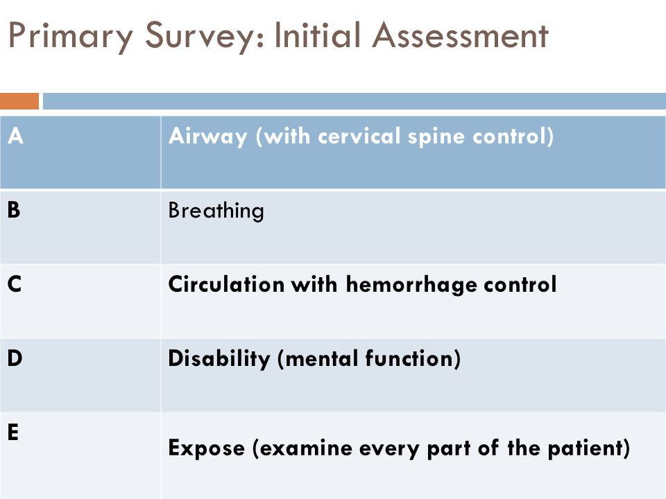Primary Survey: Initial Assessment AAirway (with cervical spine control) BBreathing CCirculation with hemorrhage control DDisability (mental function)