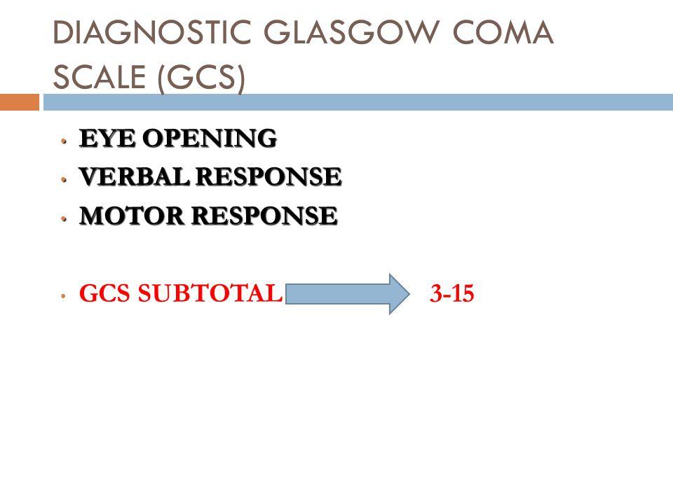 DIAGNOSTIC GLASGOW COMA SCALE (GCS) EYE OPENING EYE OPENING VERBAL RESPONSE VERBAL RESPONSE MOTOR RESPONSE MOTOR RESPONSE GCS SUBTOTAL 3-15 GCS SUBTOTAL 3-15