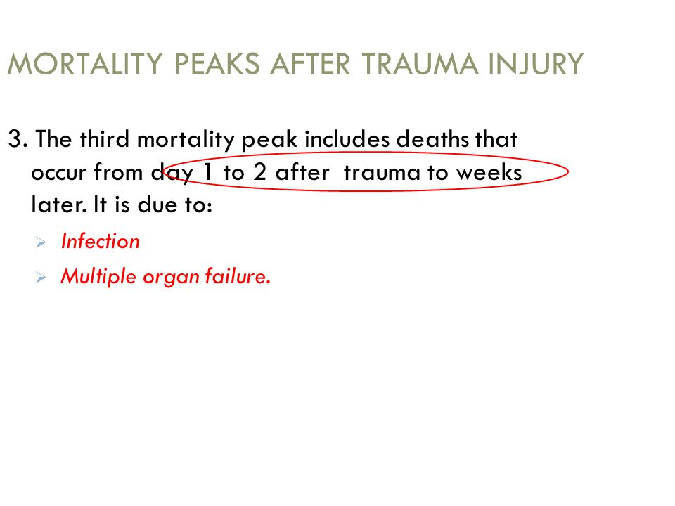 MORTALITY PEAKS AFTER TRAUMA INJURY 3. The third mortality peak includes deaths that occur from day 1 to 2 after trauma to weeks later. It is due to: