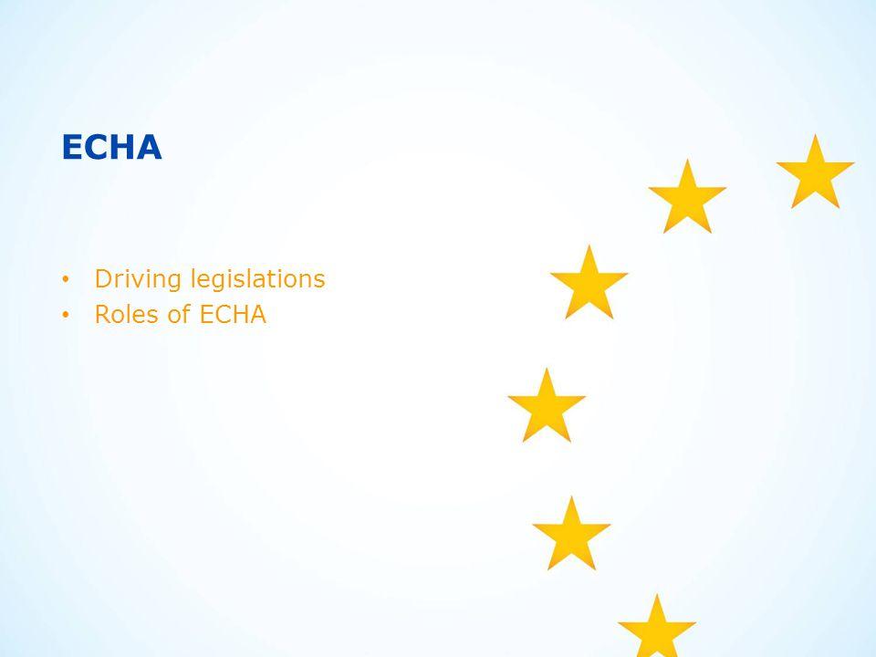 ECHA Driving legislations Roles of ECHA