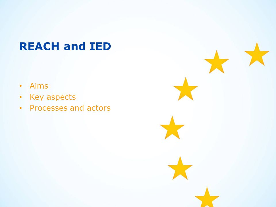 REACH and IED Aims Key aspects Processes and actors