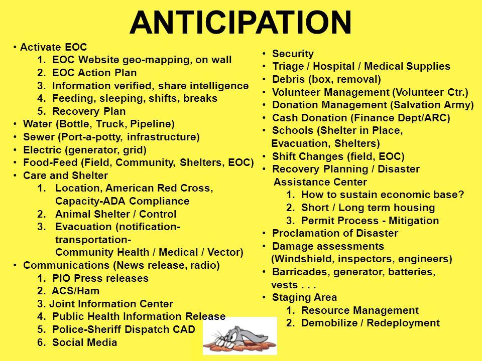Emergency Operations Center 1)Coordinate (inter-agencies / resources) 2)Conduit (additional resources) 3)MACRO vs Micro 4)Strategic vs. Tactics 5)Prom