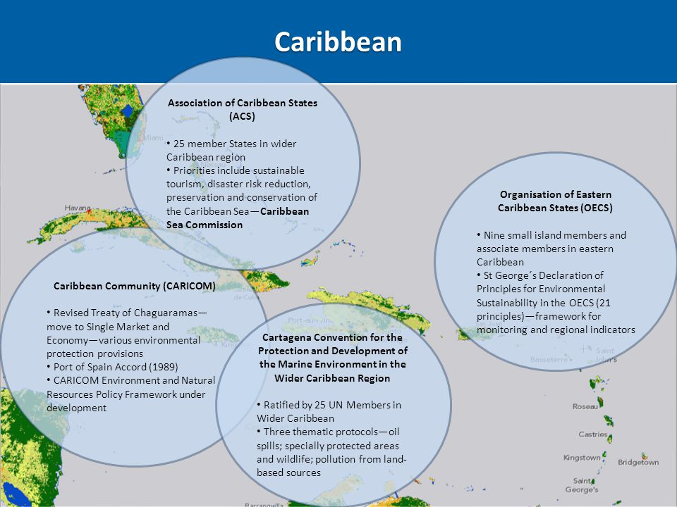 Caribbean Caribbean Community (CARICOM) Revised Treaty of Chaguaramas— move to Single Market and Economy—various environmental protection provisions P