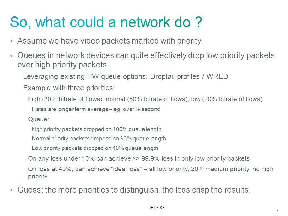 6 IETF 88 Assume we have video packets marked with priority Queues in network devices can quite effectively drop low priority packets over high priority packets.