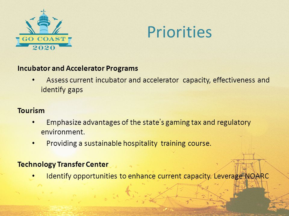 Incubator and Accelerator Programs Assess current incubator and accelerator capacity, effectiveness and identify gaps Tourism Emphasize advantages of