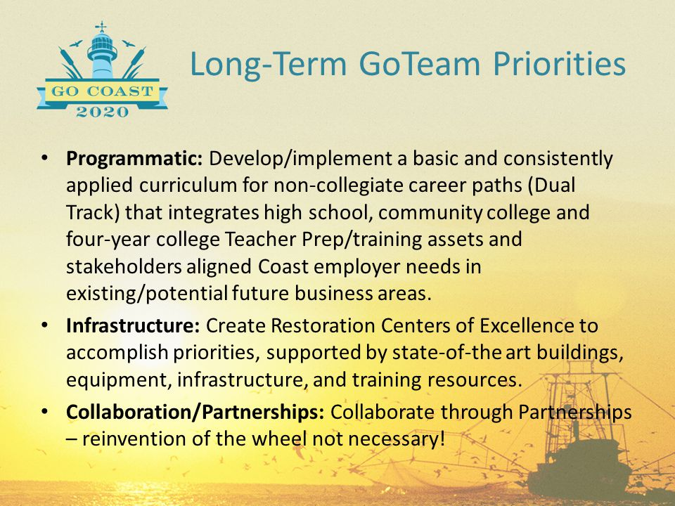 Long-Term GoTeam Priorities Programmatic: Develop/implement a basic and consistently applied curriculum for non-collegiate career paths (Dual Track) t