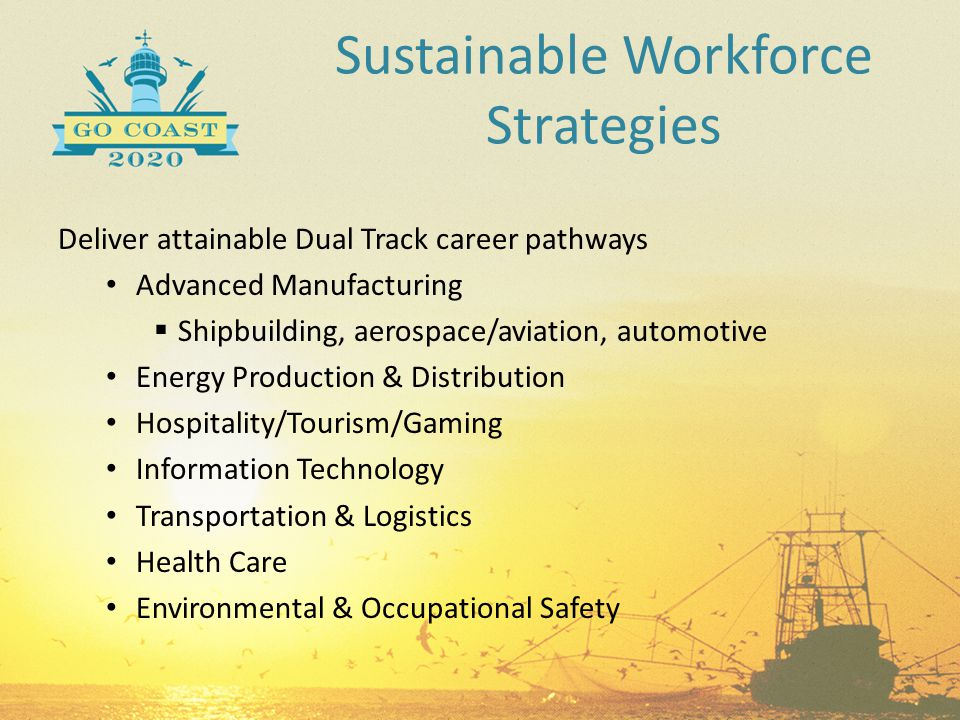Sustainable Workforce Strategies Deliver attainable Dual Track career pathways Advanced Manufacturing  Shipbuilding, aerospace/aviation, automotive E