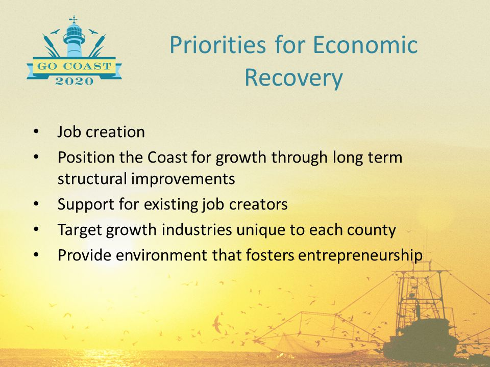 Priorities for Economic Recovery Job creation Position the Coast for growth through long term structural improvements Support for existing job creator