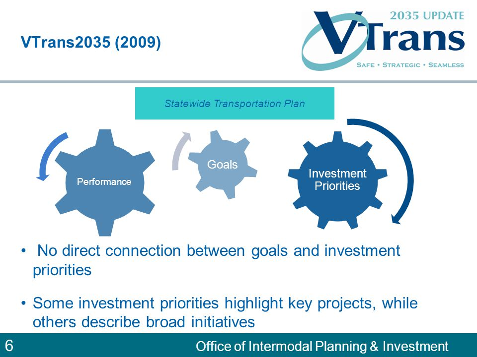 7 Office of Intermodal Planning & Investment Governor's Multimodal Strategic Plan (2010) Vision for Multimodal Transportation in Virginia Virginia will have a coordinated system of roads, rails, ports, transit, bicycle, pedestrian and aviation resources that provides integrated and efficient options that meet citizen, visitor and business transportation needs.
