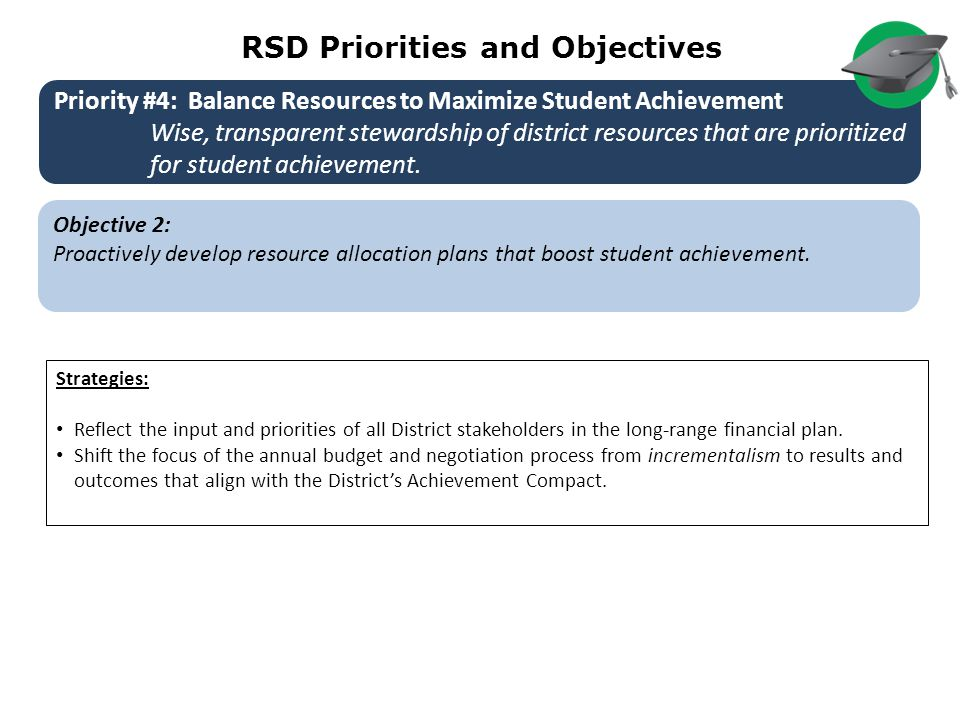 RSD Priorities and Objectives Objective 2: Proactively develop resource allocation plans that boost student achievement.