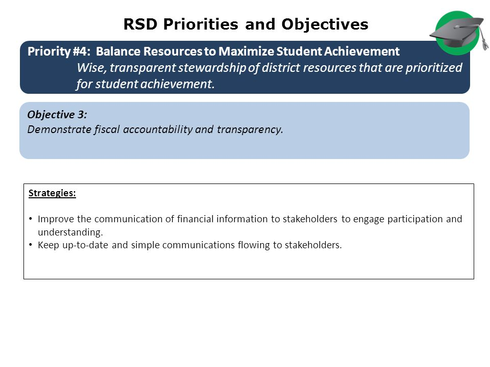 RSD Priorities and Objectives Objective 3: Demonstrate fiscal accountability and transparency.