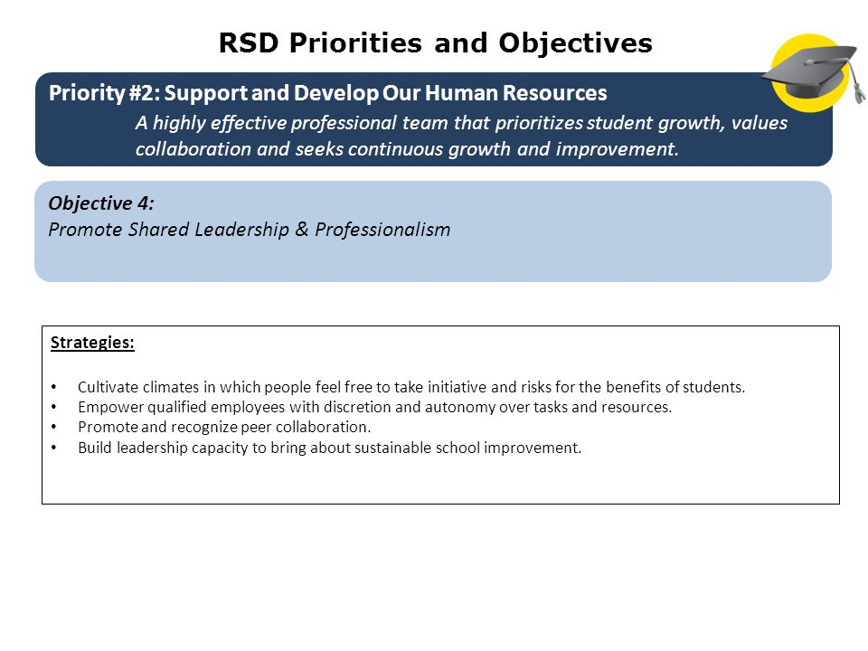RSD Priorities and Objectives Objective 4: Promote Shared Leadership & Professionalism Strategies: Cultivate climates in which people feel free to take initiative and risks for the benefits of students.