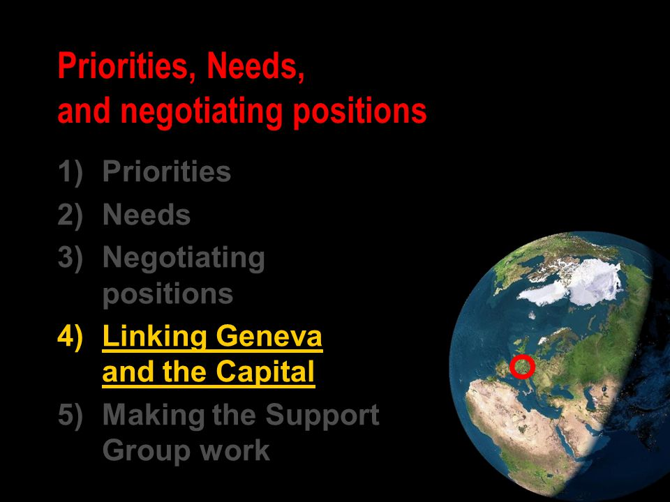 Priorities, Needs, and negotiating positions 1)Priorities 2)Needs 3)Negotiating positions 4)Linking Geneva and the Capital 5)Making the Support Group