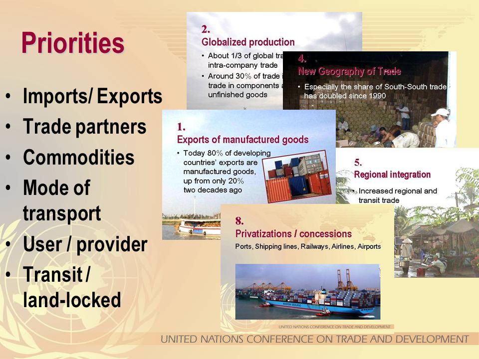 Priorities Imports/ Exports Trade partners Commodities Mode of transport User / provider Transit / land-locked