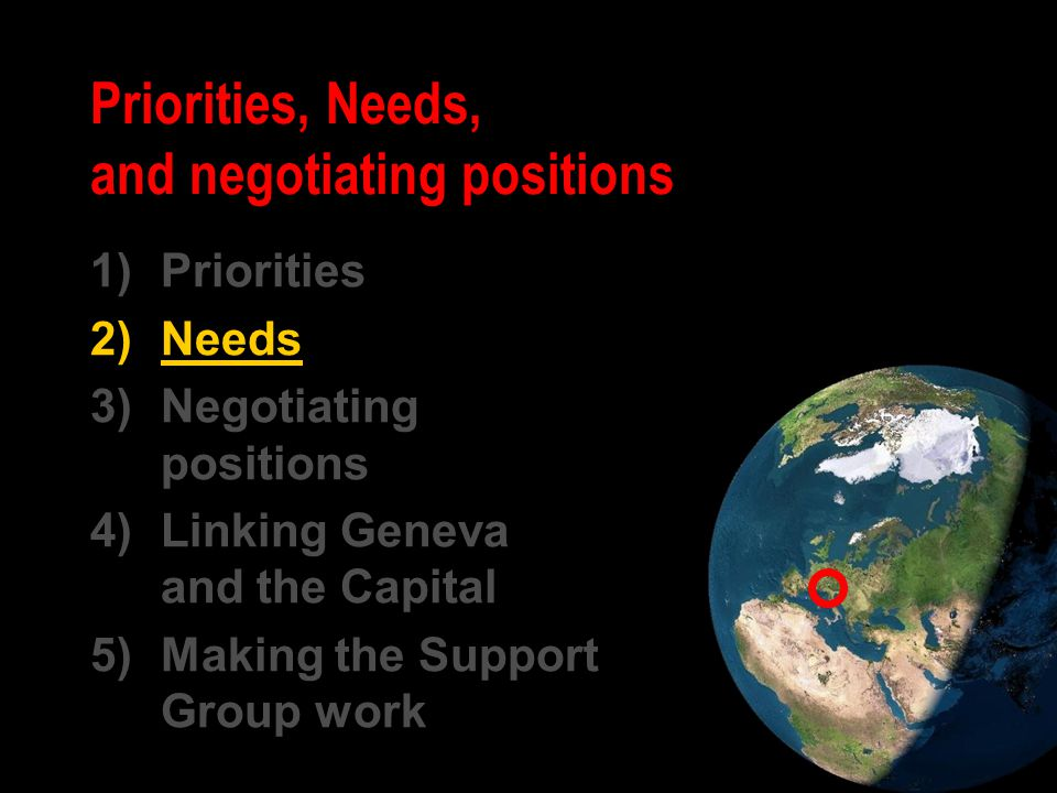 1)Priorities 2)Needs 3)Negotiating positions 4)Linking Geneva and the Capital 5)Making the Support Group work Priorities, Needs, and negotiating posit