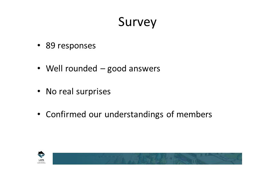 Survey 89 responses Well rounded – good answers No real surprises Confirmed our understandings of members