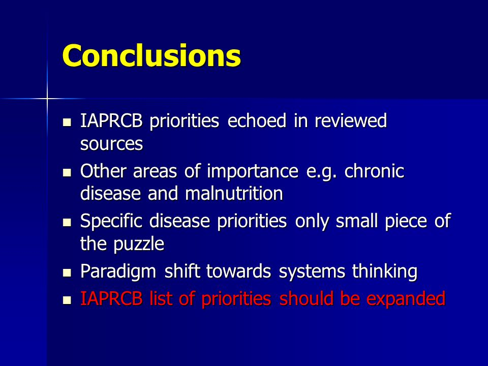 Conclusions IAPRCB priorities echoed in reviewed sources IAPRCB priorities echoed in reviewed sources Other areas of importance e.g.