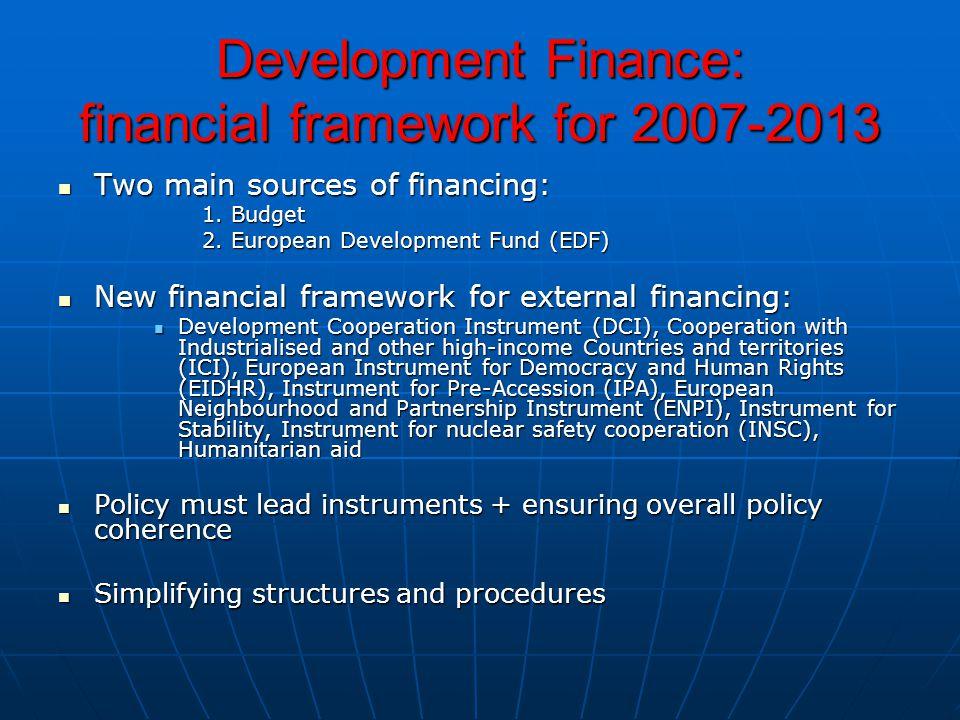 Development Finance: financial framework for 2007-2013 Two main sources of financing: Two main sources of financing: 1.
